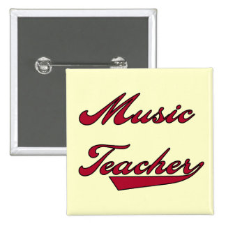 Music Teacher Red Tshirts and Gifts Pinback Buttons