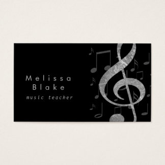 music teacher silver grey treble business card