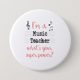 Music Teacher Super Power Pin