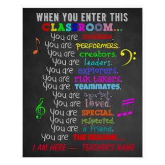 Music Teacher -When You Enter This Classroom Rules Poster
