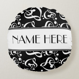 Music Theme Black And White Decorative Round Cushion