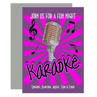 Music Theme Karaoke Celebration Party Personalized Card