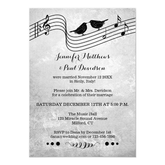Music Theme Post or After Wedding Photo Invitation