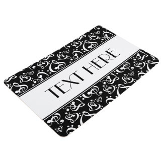 Music Themed Clef Hearts Black And White Pattern Floor Mat