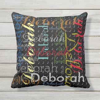 music-themed pattern name personalized outdoor cushion
