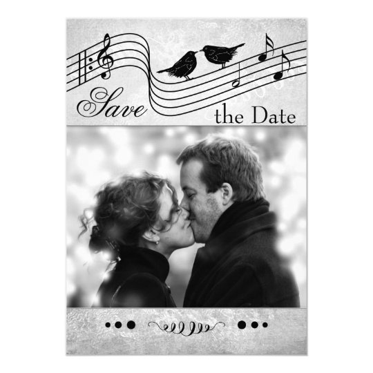 Music Themed Photo Save the Date Card
