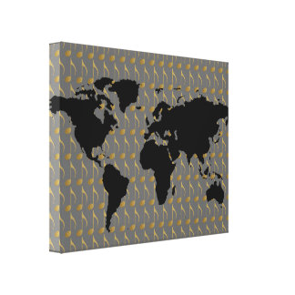 music themed world-map canvas print