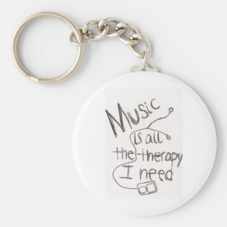 music therapy white key ring