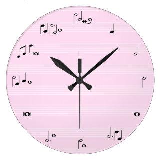 Music time clock - girly light pink