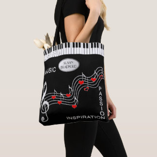 Music Tote -  Keyboard - Notes - Hearts