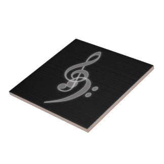 Music - Treble and Bass Clef Ceramic Tile
