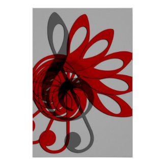 Music Treble Clef Abstract in Gray Red and Black Poster