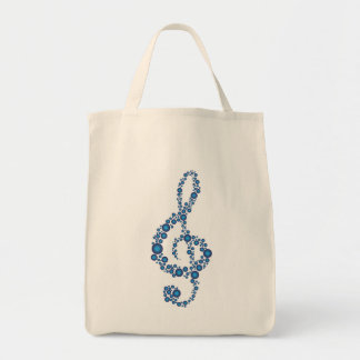 Music Treble Clef Blue Dots Grocery Tote