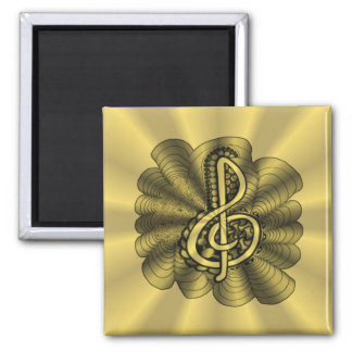Music Treble Clef Gold Customized Square Magnet