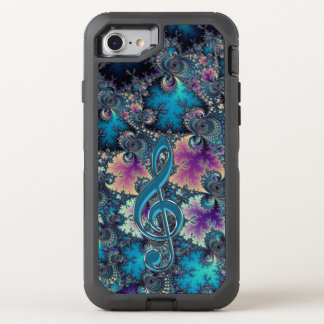 Music Treble Clef on Fractal Otterbox OtterBox Defender iPhone 8/7 Case