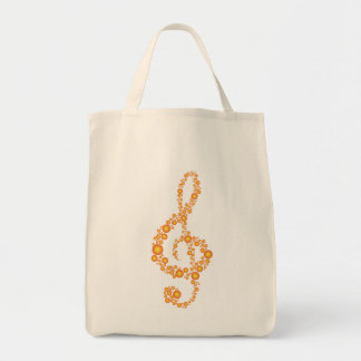 Music Treble Clef Orange Dots Grocery Tote