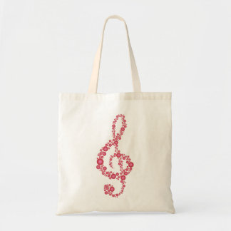 Music Treble Clef Pink Dots Bag