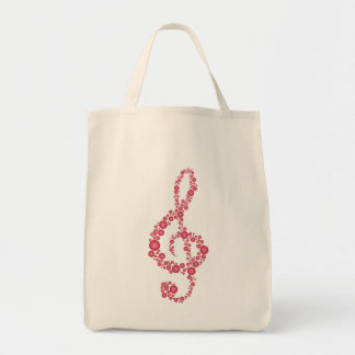 Music Treble Clef Pink Dots Grocery Tote