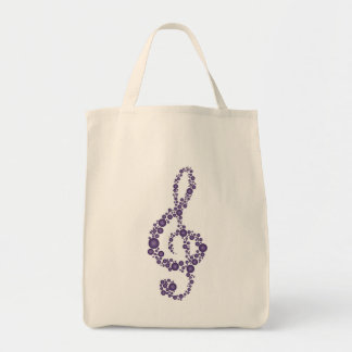 Music Treble Clef Purple Dots Grocery Tote