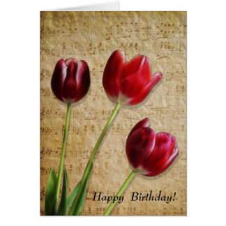 Music & Tulips Birthday Card