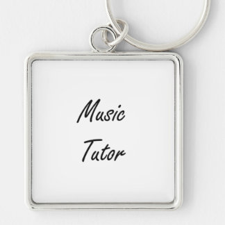 Music Tutor Artistic Job Design Silver-Colored Square Key Ring