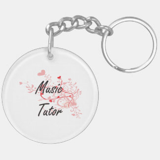 Music Tutor Artistic Job Design with Hearts Double-Sided Round Acrylic Key Ring
