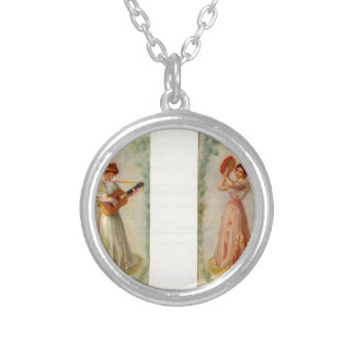 Music (two paintings) by Pierre-Auguste Renoir Round Pendant Necklace
