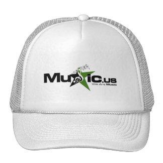 Music.us white hat - Black green Logo