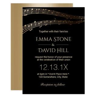 Music Wedding Party Elegant Black & Gold 13 Cm X 18 Cm Invitation Card