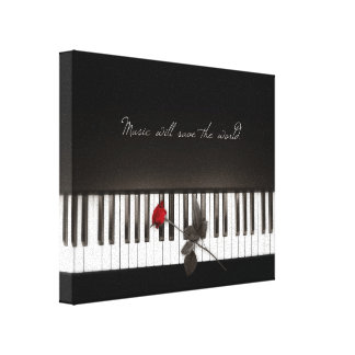 Music Will Save The World - Rose Piano canvas Stretched Canvas Print