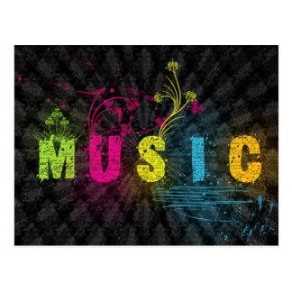 Music Word Art Postcard