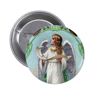 Musical Angel and Bells Vintage Xmas Pinback Buttons