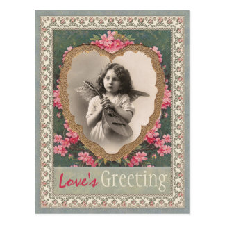Musical angel in a gold heart CC0787 Valentine Postcard