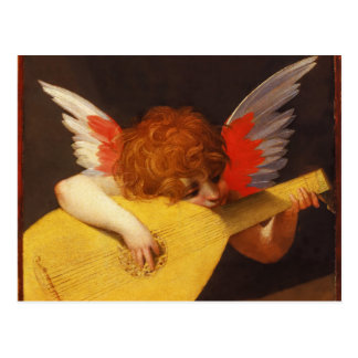 Musical Angel Vintage Christmas Postcard