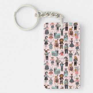Musical Animal Alphabet - Pink / Andrea Lauren Double-Sided Rectangular Acrylic Key Ring