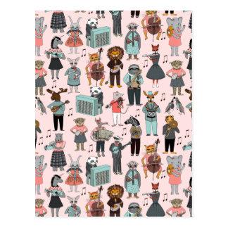 Musical Animal Alphabet - Pink / Andrea Lauren Postcard