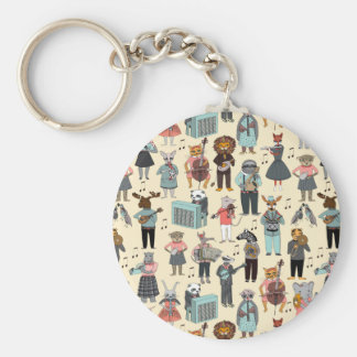 Musical Animal Alphabet Yellow / Andrea Lauren Basic Round Button Key Ring