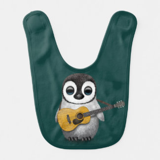 Musical Baby Penguin Playing Guitar Teal Bib