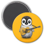 Musical Baby Penguin Playing Guitar Yellow 7.5 Cm Round Magnet