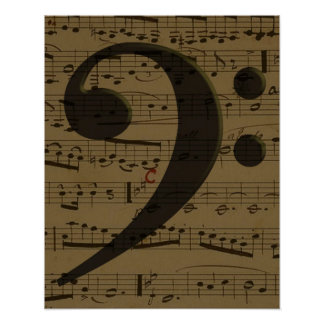 Musical Bass Clef sheet music Poster