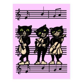 Musical Black Cats Postcard
