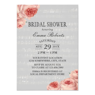 Musical Bridal Shower Elegant Floral Card