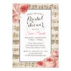 Musical Bridal Shower Vintage Pink Floral Elegant Card