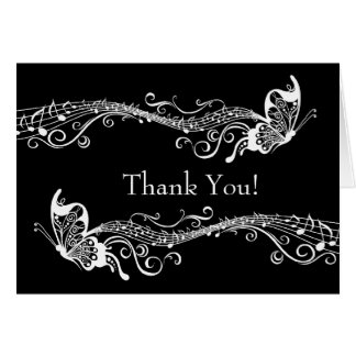 Musical Butterflies Personalized Photo Thank You Note Card