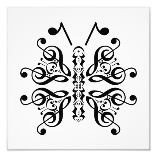 Musical Butterfly Music Note Scroll Design Photographic Print