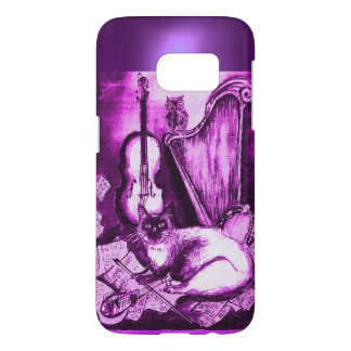 MUSICAL CAT WITH OWL IN PINK PURPLE GEM