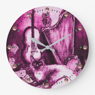 MUSICAL CAT WITH OWL VIOLIN AND HARP Pink Purple Large Clock