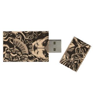 Musical catman USB, 8gb, Rectangle Wood USB 2.0 Flash Drive