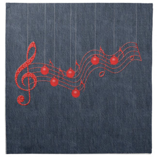 Musical Celebration Red Lace Printed Napkin