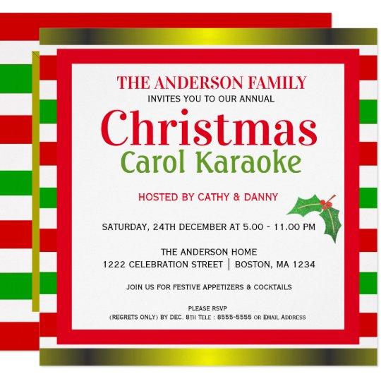 Karaoke Christmas Musical.Musical Christmas Carol Karaoke Party Invitation